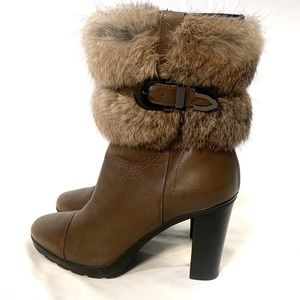 Aquatalia Pop Canyon Calf Leather Bootie with Fur